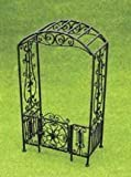 Dollhouse Miniature Black Filigree Arbor with Gate by Aztec Imports, Inc.
