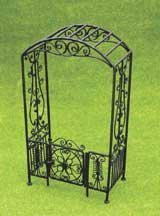 Dollhouse Miniature Black Filigree Arbor with Gate by Aztec Imports, Inc. by Aztec Imports, Inc.
