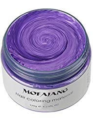 MOFAJANG Unisex Hair Wax Color Dye Styling Cream Mud, Natural Hairstyle Pomade, Washable Temporary,Party Cosplay (Purple) -
