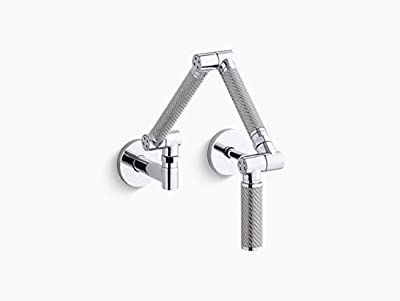 KOHLER Karbon Wall-Mount Kitchen Faucet with Silver Tube