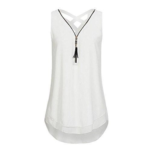 Damen T Weiß Tops DOLDOA Shirt Oberteile Reißverschluss Sommer Tank Frauen rq1prf0w