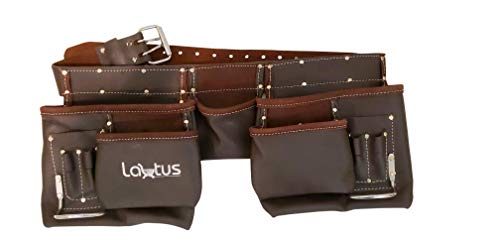 LAUTUS Oil Tanned Leather Tool Belt, Carpenter, Construction, Framers, Handyman - 100% LEATHER (Best Tool Belt For Roofing)