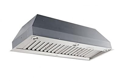 "Best PK2245 43.44"" Custom Range Hood With IQ1200 Dual Blower System 1100 CFM 4-Speed Electronic Push-Button Controls Heat Sentry 10 Minute Delay-Off Feature & In Stainless"