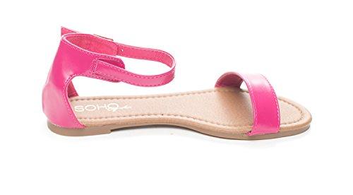 Soho Shoes Women's Summer Ankle Strap Open Toe Flat Slide Sandal Fuchsia