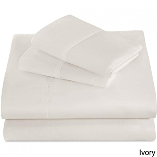 Divatex Home Fashions 400 Thread Count Super Soft Sheet Sets, Queen, Ivory (Divatex Fitted Sheet)