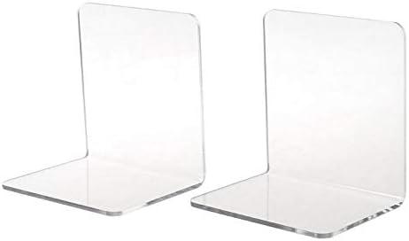 1Pcs Clear Acrylic Bookends L-shaped Desk Organizer Holder Book School Desk K8N1