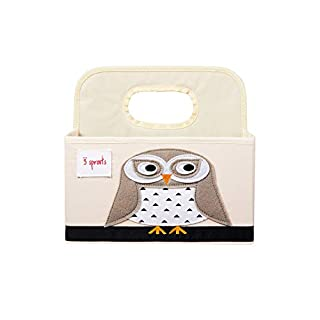 3 Sprouts Baby Diaper Caddy - Organizer Basket for Nursery, Owl