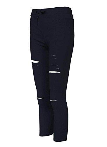 Slim Skinny Stretch Minetom Cigare Taille Haute Mince Pantalons Dchirs Sportif Bleu Crayon Femmes Leggings E4Ec1q