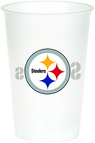 Creative Converting Officially Licensed NFL Printed Plastic Cups, 8-Count, 20-Ounce, Pittsburgh Steelers - 019525]()