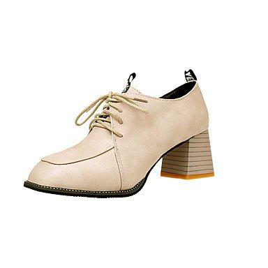 RTRY La Mujer Tacones Zapatos Formales Caída Pu Vestimenta Informal Lace-Up Chunky Talón Negro Beige Marrón 2A-2 3/4 Pulg. US6.5-7 / EU37 / UK4.5-5 / CN37