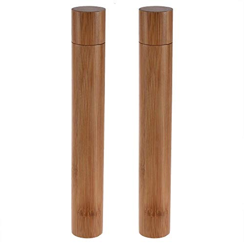 Feeko Toothbrush Holder, 2 Pack Bamboo Travel Toothbrush and Toothpaste Case Cover Container Storage for Traveling Home School