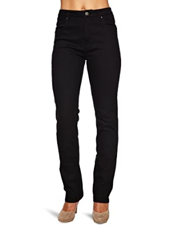 Wizard Jeans Jet Black Straight Cut Womens Jeans: Amazon.co.uk ...