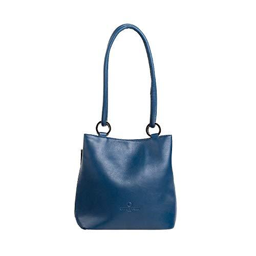 27 white color Cm Azul Hombro Grey Cuero Tamaño De Bolso Moontang ICwqP1q