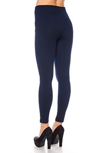 Kendindza femmes Leggings thermiques pour femmes doublés de polaire intérieure zippée opaque de base