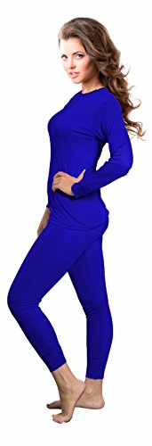 Rocky Womens Thermal 2 Pc Long John Underwear Set Top and Bottom Smooth Knit (3Xlarge, Royal - Therma Base Blue Royal