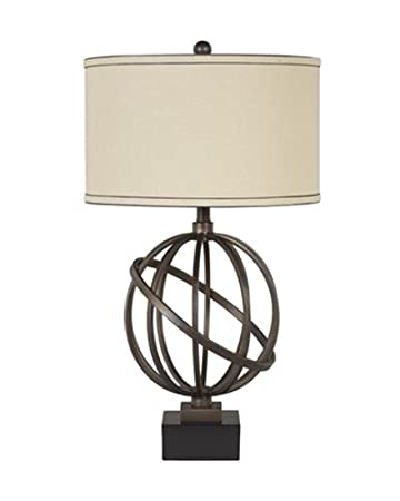 Ashley L211894 Shadel Textured Bronze With Black Base Metal Table Lamp,  Bronze (Pack Of