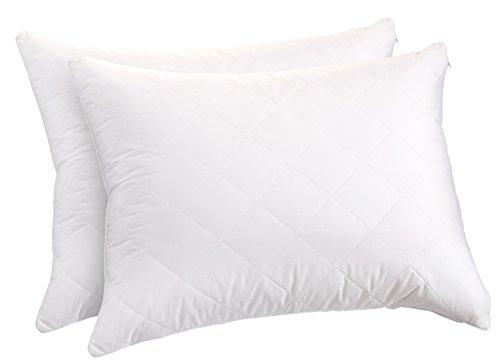 (Sunflower Hometex USA Sunflower QPPB-26S Quilted Cotton Pillow Protector Zipper Closure, Set of 2, Standard,)