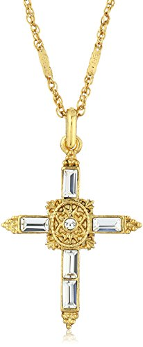 Symbols of Faith Inspirations 14k Gold-Dipped Crystal Cross Pendant Necklace, 18""