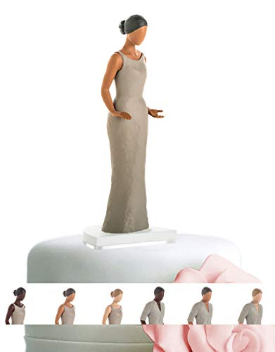 Wedding Cake Toppers for Straight, Gay, Lesbian, Interracial - Bride and Groom Figurines for Cakes - Personalize and Customize Decorations for Anniversary, Bridal Shower, Engagement (Mid Tone Female)
