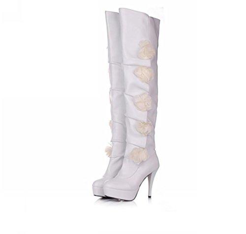 Best 4U® Zapatos de mujer PU tela suela de goma flor sobre la rodilla Botas altas estilo casual otoño invierno White