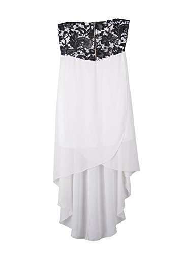 Simplicity Strapless Cocktail Dress w/ Empire Waist and Hi Lo Hem, White