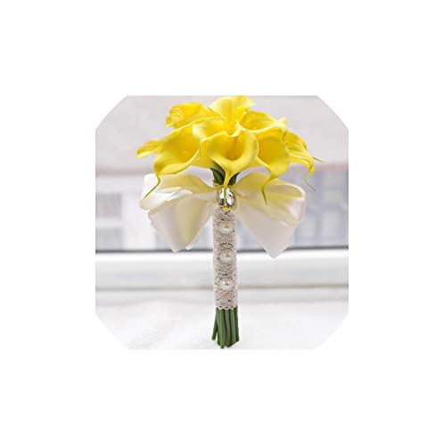 Fantasticlife06 Real Touch Yellow Calla Lily Wand for Bridesmaid Flower Girl Keepsake Mini Flower Wand Wedding Bouquet Bridal,Yellow1