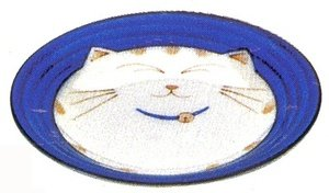 Japanese Tableware (JapanBargain Japanese Smiling Blue Cat Porcelain Plate Dish, 6-1/2