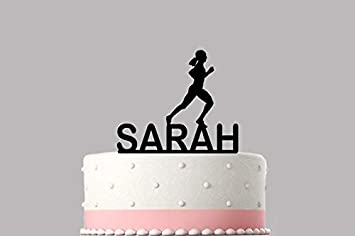 4e9f8eac93d15 Female Runner Jogger Personalised cake topper acrylic, NAME Happy ...
