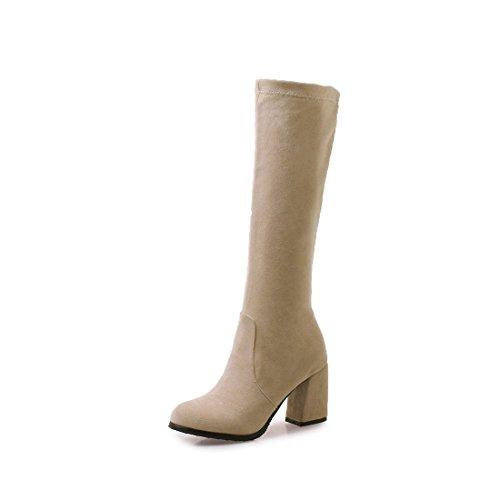 tacco inverno scamosciati moda in Beige ruvidi stivali alti Stivali Sandalette donne col autunno alti per alla DEDE stivali in stivali e alto e stivali le qvPg6