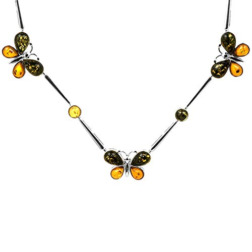 Sterling Silver Multicolor Amber Butterfly Necklace Length 16.5 Inches