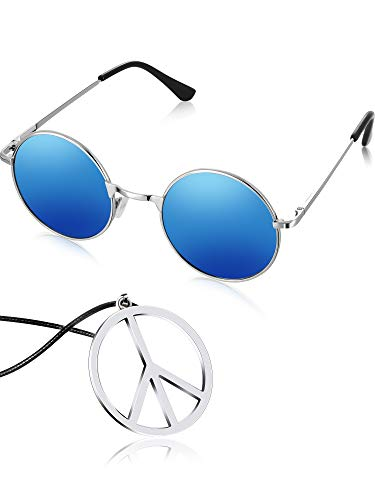 Tatuo Hippie Dressing Accessory Set Hippie Glasses and Peace Sign Necklace (Blue)]()