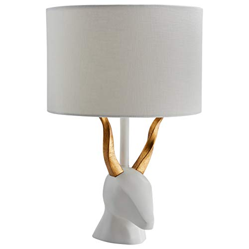 Adesso Round Table Lamp - Rivet Mid Century Modern Deer Head Ceramic Table Desk Lamp With  LED Light Bulb - 12 x 12 x 19.5 Inches, White and Brass