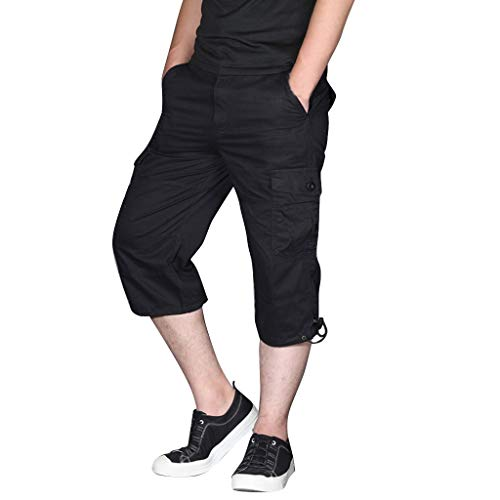 Hmlai Clearance Men Casual Relaxed Fit Outdoor Sports Multi-Pocket Outdoor Overalls Cotton Pants Cargo Shorts Big and Tall (S, Black)
