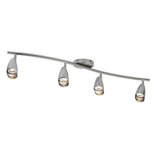 (Globe Electric Grayson 4-Light S-Shape Track Lighting Kit, Brushed Steel Finish, 4 Bulbs Included, 59066)