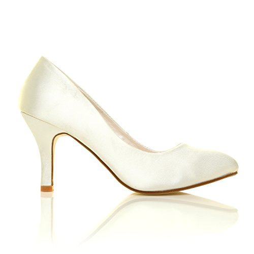 DESTINY Elfenbein Satin High Heels Braut Pumps