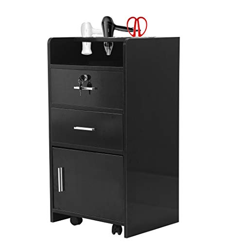 "Salon Wood Cabinet Trolley with Rolling Wheel & Lock,Spa 3-layer Drawer Storage Shelf with 3 Dryer Holes, Beauty Utility Cart, Black- (31.1 x 17 x 13.7)""(L x W x H)"