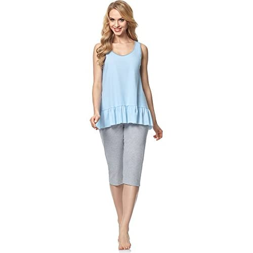 cc0687672b3e10 50%OFF Italian Fashion IF Damen Pyjama Selena 0247 Himmelblau/Melange  aZ56kmw1