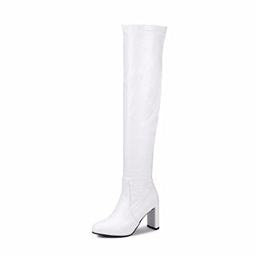 elástica de White tamaño zapatos Terry invierno rodilla tacones Botas HCZTn