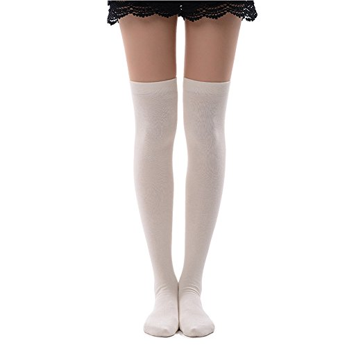 MK MEIKAN Girls White Knee Socks, Party Costume Over Knee High Cheerleader Socks 1 Pair, White (Opaque Over Knee Socks)