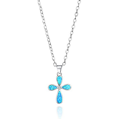 Luckeyui White Gold Plated Pink/Blue Created Opal Cross Pendant Necklace for Women Gifts 18