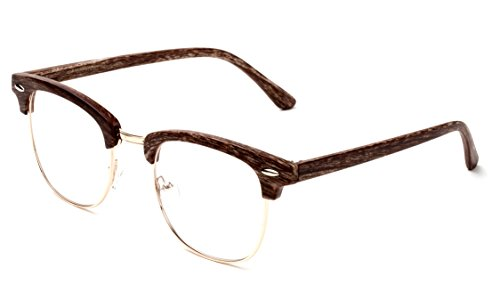Newbee Fashion - Clubmaster Oval Stylish Retro Vintage Semi-Rimless Floral Classic Half Frame Clear Glasses Frames 2 Pack Wooden Black & Brown