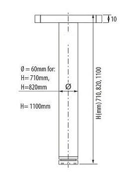 Sossai/® Premium TBCH /Óptica de cromo Set de 4 unidades Juego de patas extensibles de mesa 20 mm Altura regulable 820 mm