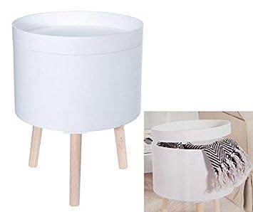Design Beistelltisch 35cm Weiss Sofatisch Mit Aufbewahrungsbox