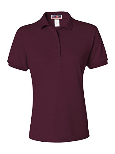 (Jerzees Ladies' 5.6 oz, 50/50 Jersey Polo with SpotShield XL MAROON)