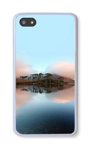 iPhone 5S Case, White PC Hard Phone Cover Case For iPhone 5S With Lake Tuinigi Phone Case