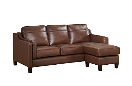 Amax Leather -'Acorn' Reversible Leather Sofa Chaise, Brown