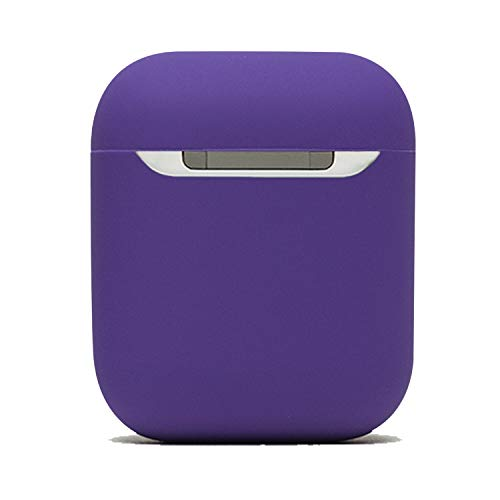 Protective Airpods Case {Made of 2 pcs} Shock Proof Soft Skin for Airpods Charging Case (Purple)