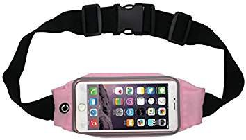 Advent Basics Adjustable Waterproof Mobile Waist Pouch Bag Case Cover With Transparent Touch Screen With Headphone Jack Slot Compatible With Iphone Samsung Galaxy 4.7 To 5.5 Inch Phone (Off Pink)