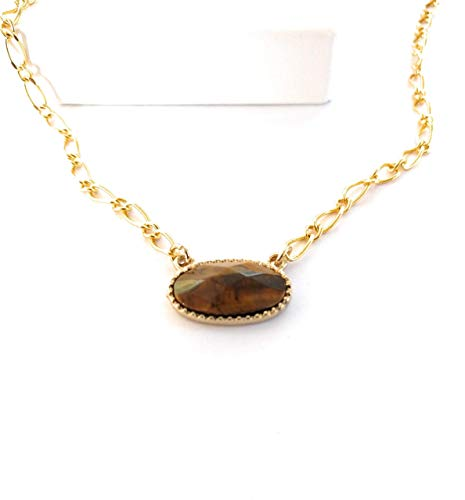Cat Necklace Eye Choker (Tiger Eye Gemstone Bar Pendant Figaro Chain Gold)
