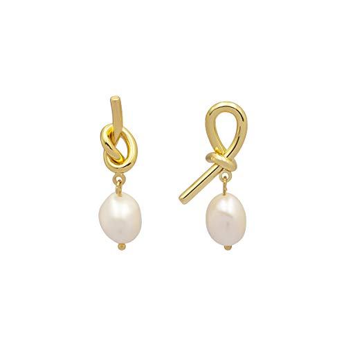 (LANE WOODS Mismatched 925 Sterling Silver Post Irregular Genuine Freshwater Cultured Pearl Metal Love Knot Drop Dangle Stud Earrings Gifts for Her Women Ladies (Gold 6))